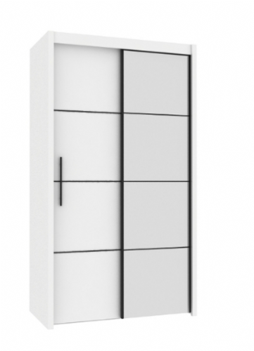 Carlo Sliding Door Wardrobe 121cm in White - 2528